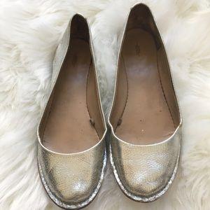 Zara silver leather ballerina.